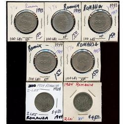 Lot of 7 Romania 100 & 2 Lei 1924-1944