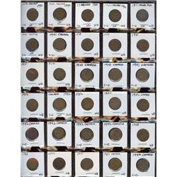 Lot of 60 Canadian Cents, 1940-1946 in frames