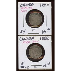 1880 & 1888 Canada .925 Silver 5 Cent ASW .0692