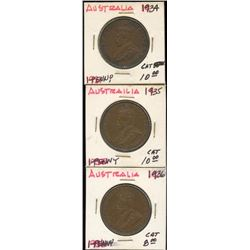 Lot of 3 Australia Large Penny Coins, 1934-35-1936