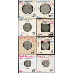 Lot of 8 Belgium 83% Silver 1-2-20 Francs and