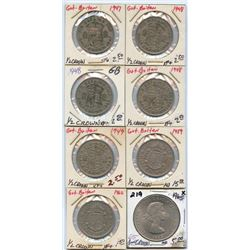 Lot of 8 Great Britain 1/2 & 1 Crown coins