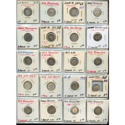 Lot of 20 Great Britain Silver 3 Pence Coins