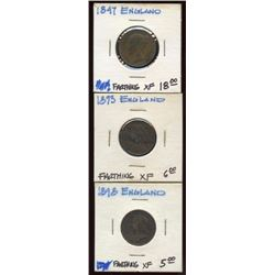 3 Great Britain Copper Farthings, 1847, 1893, 1898