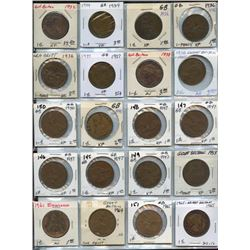 Lot of 20 Great Britain Bronze Large Pennies
