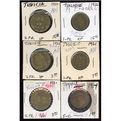 Lot of 6 Tunisia 1-2 Francs & 5 Centimes 1914-1926