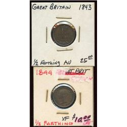 2 Great Britain 1843-44 1/2 Farthing Copper coins