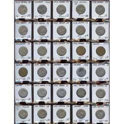Lot of 60 Canada Nickels, 1923-1960 in frames