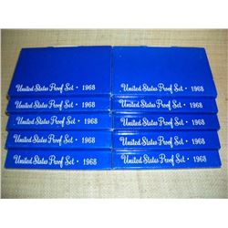 Lot of 10,1968 US Proof 5 Coin Sets, 50 coins