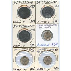 Lot of 6 Netherlands 25 Cent pcs, 1942-1957