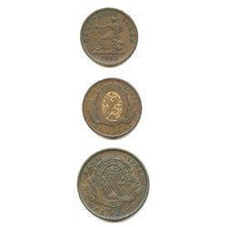 Canada City Bank Copper Penny & 1/2 Penny Tokens