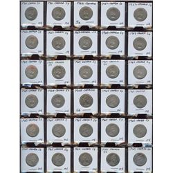 Lot of 60 Canada Nickels, 1961-1982 in frames