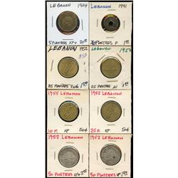 Lot of 8 Lebanon 5-10-25-50 Piastres 1924-1952