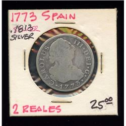 Spain 1773 Two Reales 83% Silver coin, ASW .1813