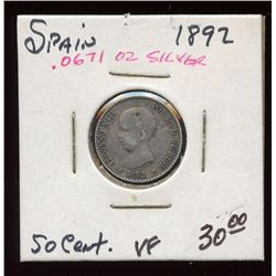 Spain 1892 Silver 50 Centimos, VF, 83%, ASW .0671