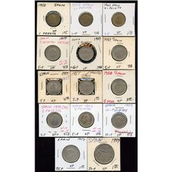 Lot of 14 Spain 1957-1983 1-5-10-25-50 Pesetas