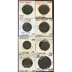 Lot of 8 France 1 & 5 Centimes coins 1780-1888