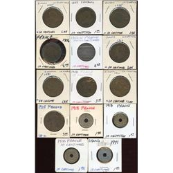 Lot of 14 France 10 Centimes Coins, 1855-1941