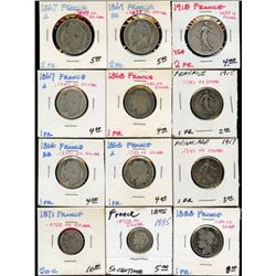 Lot of 12 France Silver 1 & 2 Francs, 50 Centimes