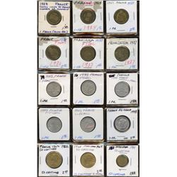 Lot of 15 France 1 Franc, 50 Centimes Coins