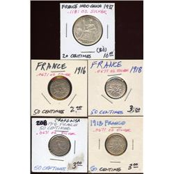 Lot of 5 France Silver 20 & 50 Centimes, 1916-1937