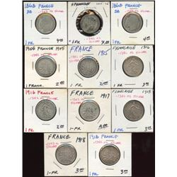 Lot of 11 France 83% Silver 1 Franc Coins