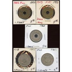 Lot of 5 Fiji Penny & Florin Coins, 1942-1964