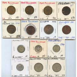 Lot of 14 Phillipines 1-5-10-25 Centavos 1904-1976
