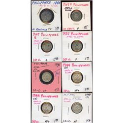 Lot of 8 Phillipines Silver 10 Centavos, ASW .4071