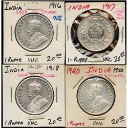 Lot of 4 India 91% Silver UNC Rupees, ASW 1.375