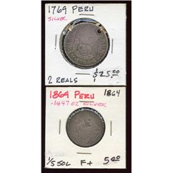 Peru Silver 2 Reale, 1/5 Sol (holed) 1769, 1864