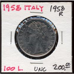 1958 Italy 100 Lire Coin, Uncirculated