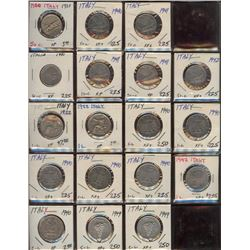 Lot of 18 Italy 50 Cent, 1-2-5 Lire Coins 1920-49