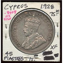 1928 Cyprus Silver 45 Piastres 50th Anniversary XF