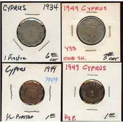 Lot of 4 Cyprus Piastre & Shilling Coins, 1934-199