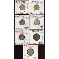 Lot of 7 Curacao 1/4 & 1/10 Gouldens & 2 1/2 Cents