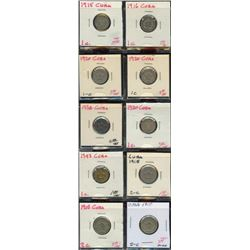 Lot of 10 Cuba 1 & 2 Centavos Coins, 1915-1943
