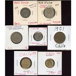 Lot of 7 Chile Centavos Coins 1907-1985 (2 silver)