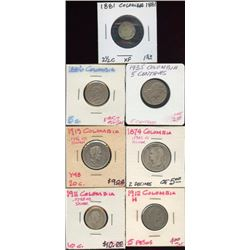 Lot of 7 Columbia Centavos Decimos Pesos