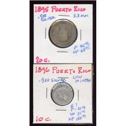 Puerto Rico 1895-96 20 & 10 cent coins, 90%