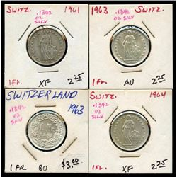 Lot of 4 Switzerland Silver 1 Francs 1961-1964