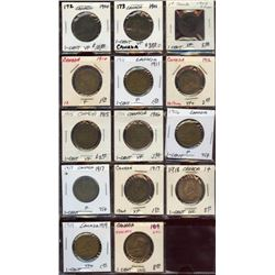 14 Canadian Bronze Large Cents 1900-1919