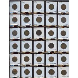 Lot of 60 Canadian Cents, 1946-1955 in frames