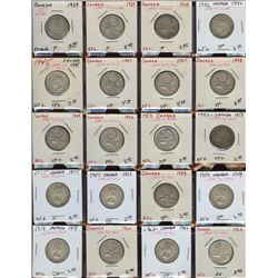 Lot of 20 Canadian 80% Silver Quarters, 1929-1962
