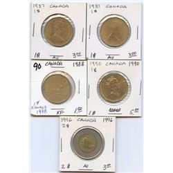 Lot of Canada $1 & $2 Coins 1987-1996, $6 face