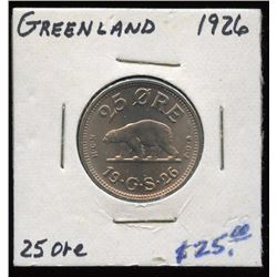 Uncirculated 1926 Greenland 25 Ore Coin