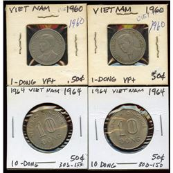 Lot of 4 Vietnam 1 & 10 Dong, 1960-1964