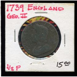 Great Britain 1739 Copper 1/2 Penny, Geo. 2nd