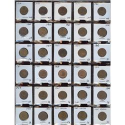 Lot of 68 Canadian Cents, 1956-1991 in frames