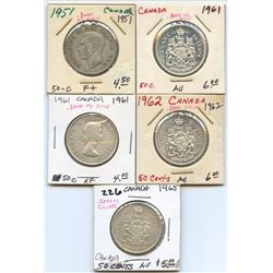 Lot of 5 Canadian 80% Silver Half Dollars 1951-65